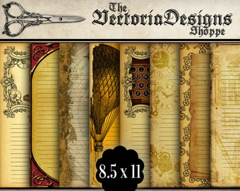 Steampunk Notebook Papers Printable 8.5 x 11 inch letter writing stationery journaling journal bookmaking pages crafting hobby - VDPAST1073