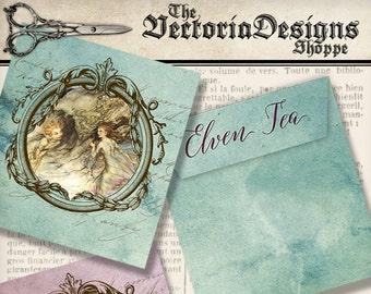 Elven Tea Bag Envelope printable tea envelope diy paper crafting digital download instant download digital collage sheet - VDTEFA1344
