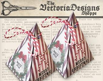 Christmas Box, Pyramid Box, Printable Christmas Favors, Christmas Decoration, Christmas Pyramid, Christmas Box Template, Xmas Box VDBXCM1254