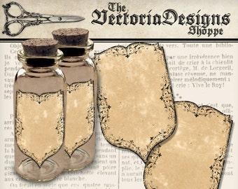 Blank Apothecary Labels blank digital download apothecary jars paper crafting instant download digital collage sheet - VDAPVI1375