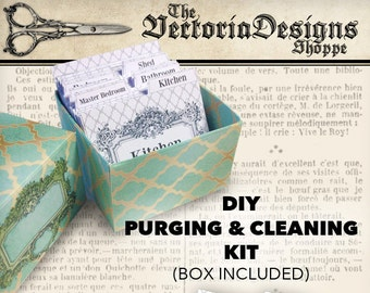 Purging and Cleaning Kit printable DIY organization organizing purge clean system instant download digital collage sheet - VDKIPR1318