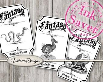 Fantasy Apothecary Labels Halloween Printable Paper Crafting Ink Saver digital download printable images digital collage sheet - VDAPVI1510
