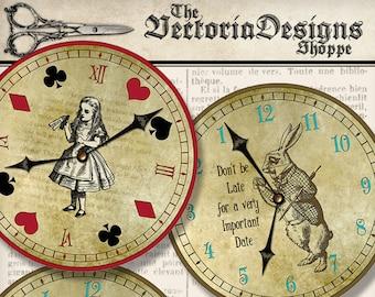 Alice in Wonderland Clocks printable party decor diy paper crafting craft digital instant download digital collage sheet - VDCLAL1334