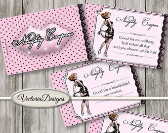 Printable Naughty Coupon Book Sex Coupons Printable Man Gift Printable Woman Gift pink dots instant download digital collage  - VDCOER1581