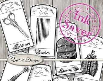Ye Olde Sewing Shoppe Labels printable ink saver paper crafting sewing seamstress instant download digital collage sheet - VDLAVI1459