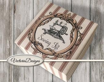 Mini Sewing Kit printable DIY gift handmade gift diy kit organizing instant download digital collage sheet - VDKIVI1452