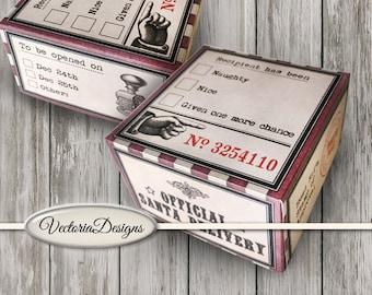 Printable Gift Boxes Christmas, Naughty Nice Box, Stocking Stuffers, Christmas Boxes, Christmas Ephemera, Delivery Boxes, Mini VDBXCM1469