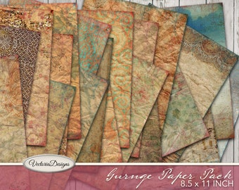 Grunge Paper Pack, Decorative Paper, Junk Journal Paper, Digital Grunge Paper, Scrapbooking Paper, Journaling Paper, Digital Download 001928