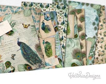 Proud Peacocks Paper Pack, Digital Paper Pack, Scrapbook Paper, Peacock Decoration, Bird Paper Pack, Printable Paper, Beautiful   002170