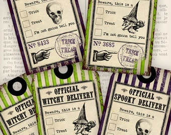 Printable Halloween Delivery Tags gift tags printable hobby crafting scrapbooking instant download digital collage sheet - VDTAHA0830