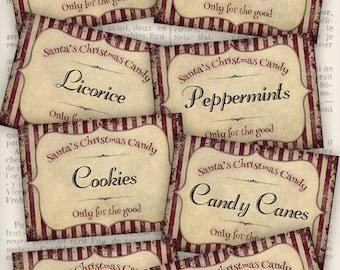 Christmas Labels, Christmas Candy Labels, Candy Cane Labels, Christmas Printables, Christmas Decoration, Digital Labels, Santa  VD0545