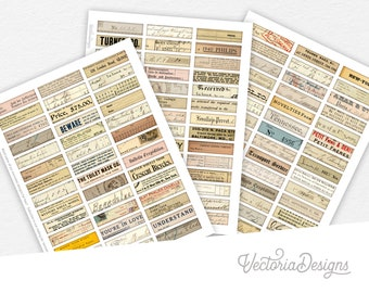 Mini Ephemera Labels Mini Bundle scrapbooking junk journal embellishments digital instant download printable digital collage sheet - 002290