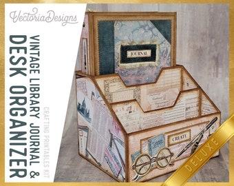Vintage Library Journal and Desk Organizer DELUXE Crafting Printables Kit, Printable Journal Kit, Journal Ephemera, Scrapbook Journal 002124