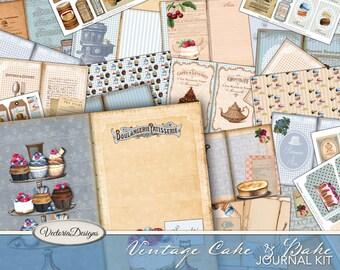 Vintage Cake & Bake Journal Kit, Printable Journal, Junk Journal Diy, Journal Pages, Pink Journal, Vintage Journal Kit, Journal Pack, 002040