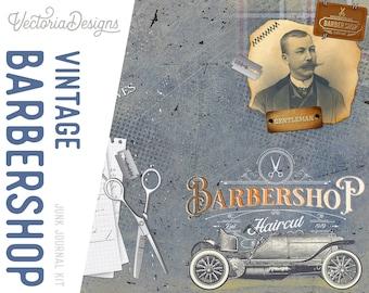 Vintage Barbershop Junk Journal Kit, Barbershop Clip Art, Barbershop Decoration, Printable Journal Kit, Barbershop Collage Sheets 002089
