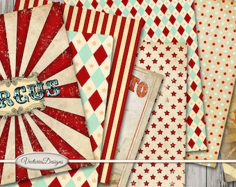 Vintage Circus Paper Pack, Circus Digital Paper, Circus Background Paper, Circus Printable Pack, Circus Decoration Paper, Circus  001543