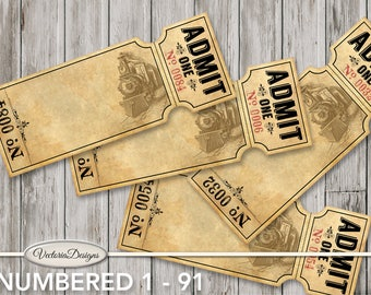 Retro Train Tickets with Numbers 1 - 91 Printable admit one paper crafting wedding table raffle vintage digital sheet download - 001545