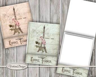 Eiffel Tower Notebook, Paris Notebook, Matchbook Digital, Printable Paper Craft, Notebook Cover, Wrapping Paper, Ephemera Paris 001487