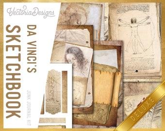 Da Vinci's Sketchbook DELUXE Junk Journal Kit, Journal Printables, Ephemera Junk Journal, Junk Journal Supplies, Leonardo Da Vinci 002274