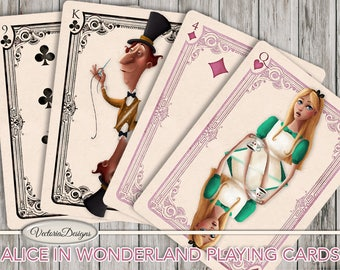 Printable Alice in Wonderland playing cards full deck paper crafting scrapbooking craft instant download digital sheet S3I1 - VDPCAL1613