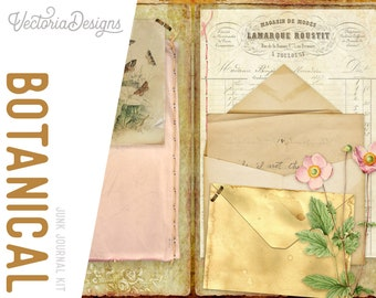 Botanical Journal, Mini Project Pack, Printable Botanical Journal, Junk Journal, Tags With Pockets, Journal Pages, Digital Journal 002015