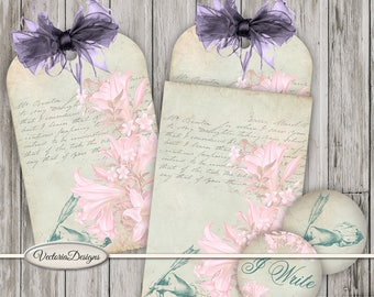 Vintage Tag and Pocket pink green printable tags paper crafting scrapbooking crafting instant download digital collage sheet - VDMISC0994