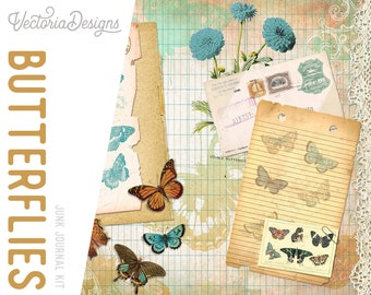 Vintage Butterflies Junk Journal Kit, Printable Journal Pages, Embellishments, Papers 002087