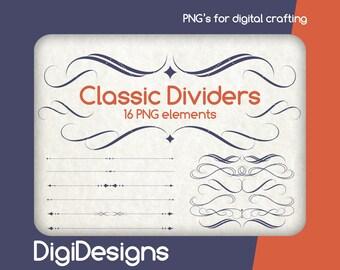 Classic Dividers clipart clip art PNG files borders swirl florish transparent background digital scrapbooking digital download - DDBOVI1943