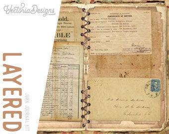 Layered Junk Journal Kit,  Printable, Paper Craft, Layered Journal Kit, Digital Junk Journal, Diy Journal, Shabby Vintage Journal,  001934