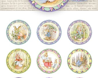 Beatrix Potter Toppers, Cupcake Toppers, Peter Rabbit Toppers, Party Supplies, Printable Peter Rabbit, Digital Cupcake Toppers 000769