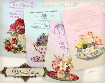 Tea Cup Flowers Papers 6 x 4 inch printable images instant download digital collage sheet VD0785