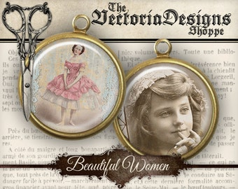 Beautiful Women Circles - 2 inch / 1.5 inch / 1 inch / 18mm / 16 mm / 14mm / 0.5 inch - VDCIVI0053