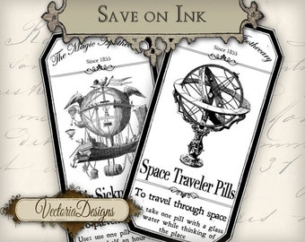 Steampunk Apothecary Bottle Labels Tags economic instant download printable images digital collage sheet VD0267