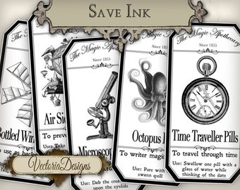 Steampunk Apothecary Labels, Halloween Labels, Printable Paper Craft, Bottle Halloween Prints, Potion Bottles Sheets, Scrapbooking VD0399