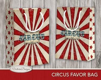 Vintage Circus Favor Bag printable Favor Box paper crafting diy digital download instant download digital collage sheet - VDFBCI1756