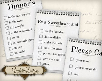 Sweetheart Notes printable instant download digital collage sheet VD0655