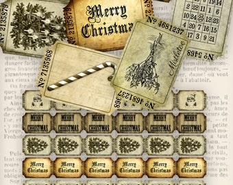 Christmas Tickets, Vintage Christmas Decoration, Digital Tickets Xmas, Merry Christmas Tickets, Christmas Collage, Scrapbook Xmas 000250
