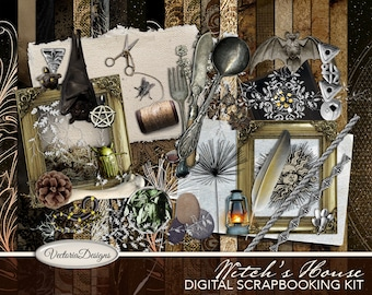 Witch House Kit, Digital Paper Witch, Scrapbook Paper, Witch Decor, Digital Elements, Witch Kit, Clip Art, Embellishments Art 001799