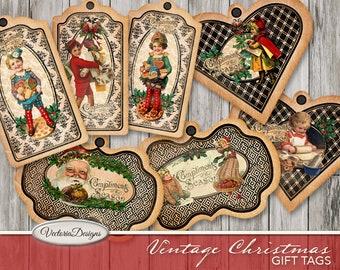 Vintage Christmas Gift Tags, Digital Christmas Cards, Printable Christmas Tags, Xmas Cards, Christmas Diy Jewelry Kit, Christmas 001822