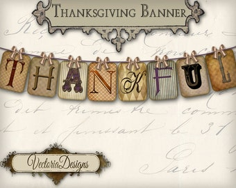 image regarding Printable Thanksgiving Banners referred to as Thanksgiving banner Etsy