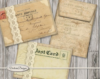 Junk Journal Embellishments, Scrapbook Digital, Vintage Postcards, Vintage Envelopes, Printable Envelopes, Digital Envelopes 001512