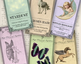 The Faerie Apothecary Labels printable fairy craft art hobby crafting scrapbooking instant download digital collage sheet - VDAPVI1000