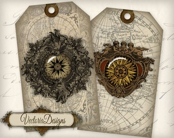Compass Tags Maps printable tags printable paper craft art hobby crafting scrapbooking instant download digital collage sheet - VD0375