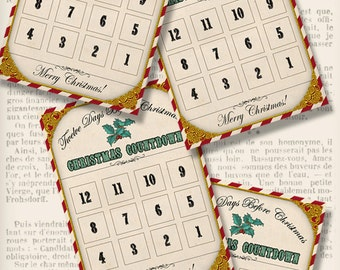 Christmas Countdown Punch Cards, Christmas Countdown Printable,  Party Printables, Vintage Christmas Craft, Christmas Calendar - VDCACM1289