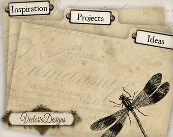 Printable Vintage Tab Dividers organizer organizing ideas projects digital graphics instant download Digital Collage Sheet - VD0730