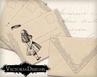 Alice in Wonderland Envelopes Printable Envelopes instant download digital collage sheet VD0325