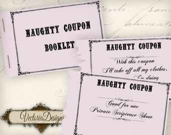Naughty Coupons, Printable Coupons, Printable Women Gift, Valentines Coupons, Scrapbook Paper, Erotic Coupons, Sexy Coupons, Party VD0604