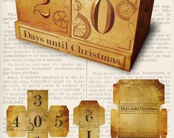 Christmas Countdown Blocks, Steampunk Christmas, Christmas Decor, Christmas Scrapbook Paper, Digital Christmas, Steampunk Blocks  001008