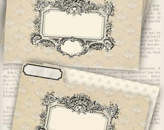 Shabby Elegant File Folders printable add text paper crafting craft room organizing digital download sheet - VDMISC1001