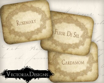 Herbs and Spice Labels printable kitchen organzing craft art hobby crafting scrapbooking instant download digital collage sheet - VD0348